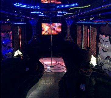 nj party bus at night with colored leds