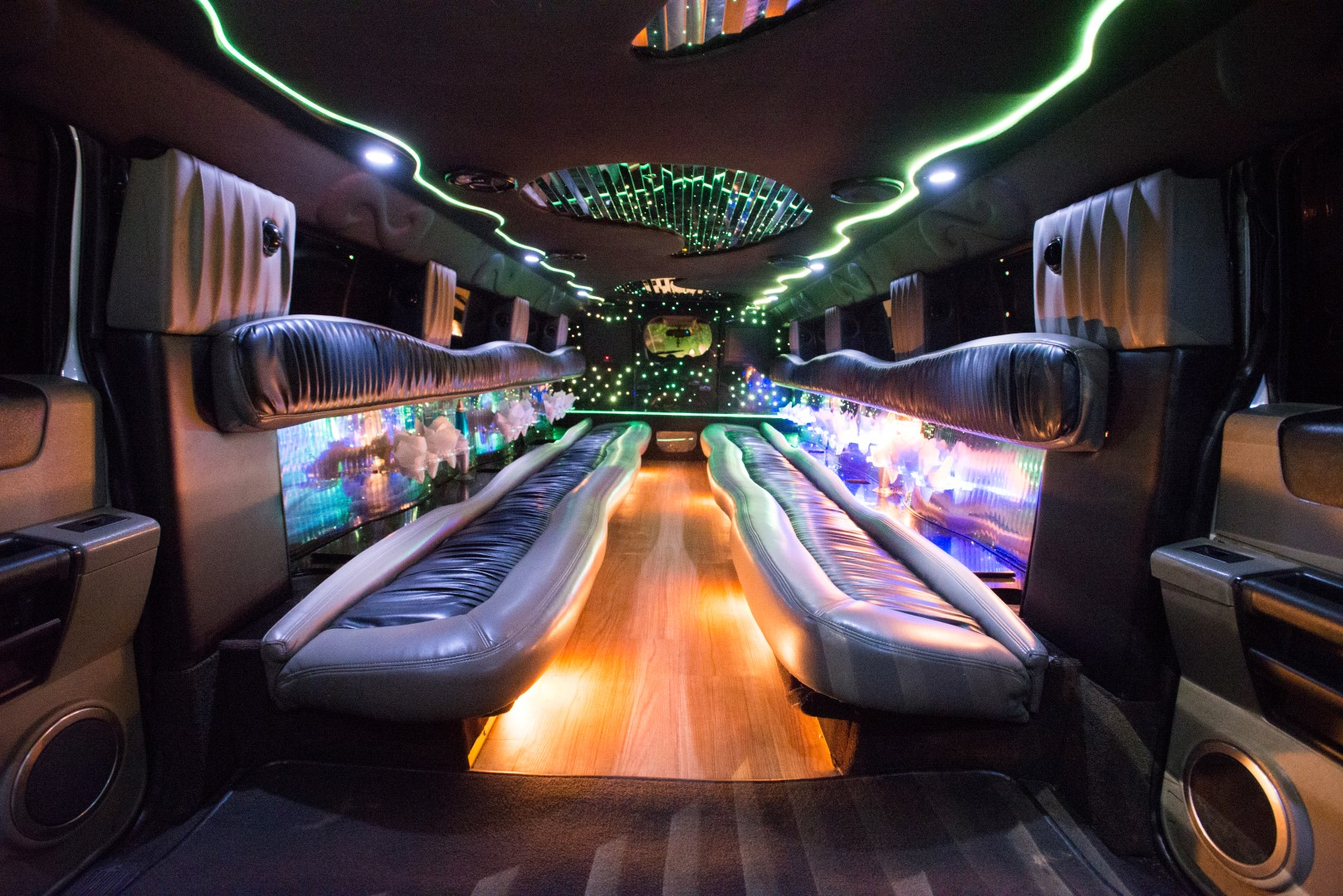 inside hummer party bus
