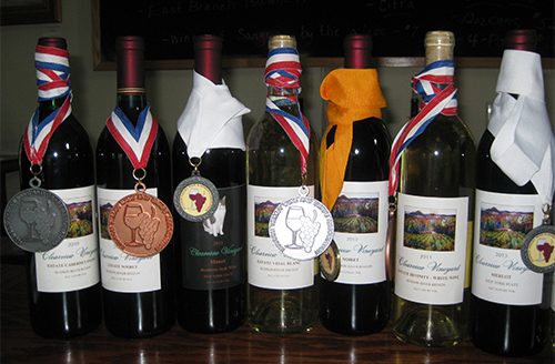 Clearview Wine bottles with awards on them